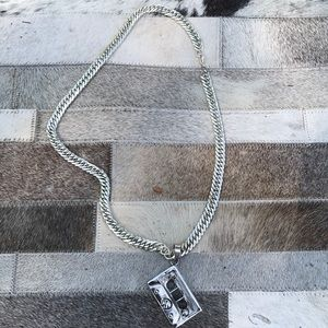 Silver plated chain & Steel cassette scale pendant